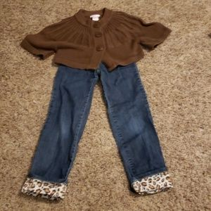 Set of 2: Gymboree Leopard-cuff Jeans + Sweater